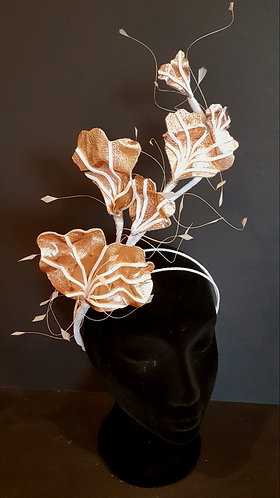 Rose Gold italian leather spring racing fascinator