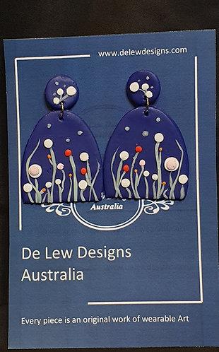 Handmade polymer clay earrings - flower garden