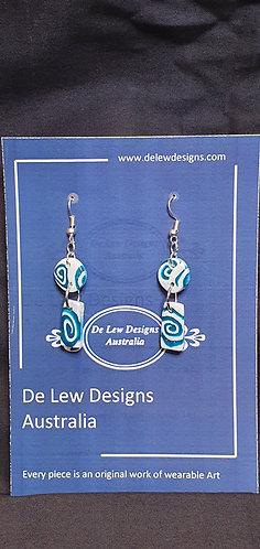 Handmade polymer clay earrings -turquoise swirl drop