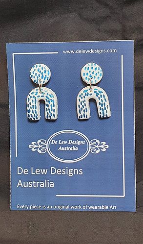 Handmade polymer clay earrings - White with metallic Blue dash