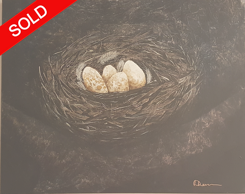 SOLD Acrylic painting titled - Waiting -