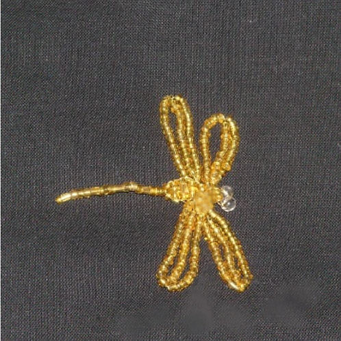But12 ~ Beaded Dragon Fly Gold