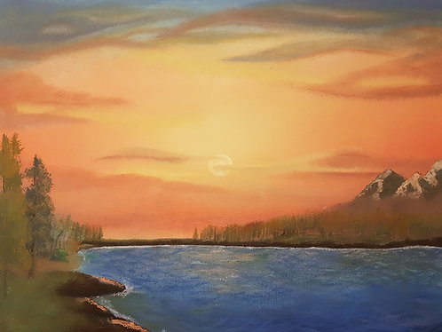 sunset acrylic painting australia