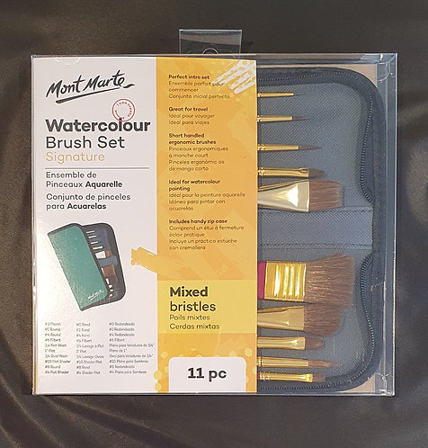 Mont Marte Signature Paint Brush Set - Watercolour Mixed Bristle In Wallet 11pc