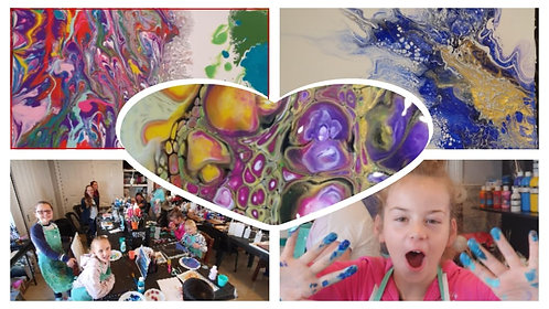 Kids art class SCHOOL HOLIDAYS/ full day workshop Acrylic pour