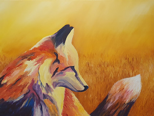 "Acrylic fingerpainting Fox - ""Distraction""- Artists Donna Lewis"