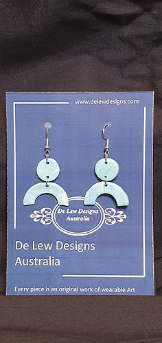 Handmade polymer clay earrings - Turquoise marble large drop