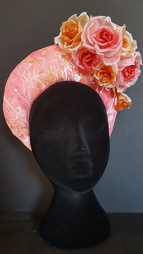 Coral, pink and gold crown. Spring racing fashion