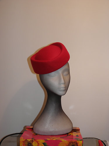 Machine Blocked 100% Wool Felt Hat Shape 5 Red