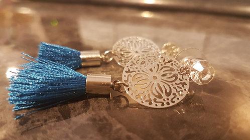 filigree Royal Blue tassel earrings. accessories millinery spring racing carnival