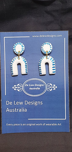 Handmade polymer clay earrings - White with metallic blue line