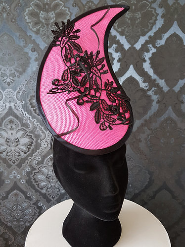 pink paper fascinator with guipure lace detail de lew