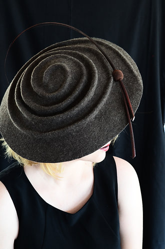 hand moulded mix felt hatinator with quill detail de lew