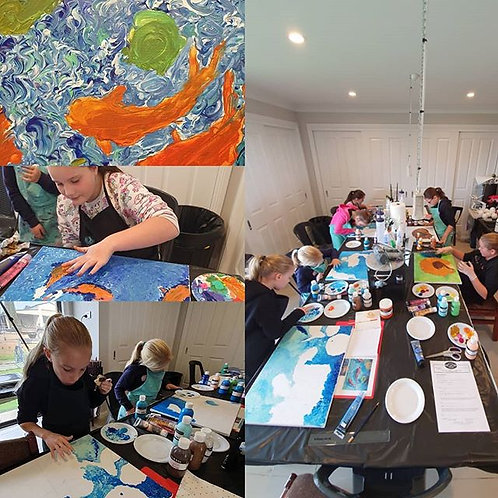 Kids art class - School holidays - Painting - Brushless art