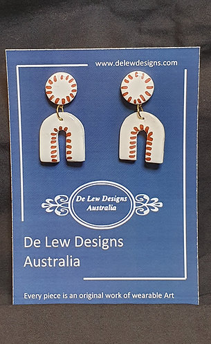 Handmade polymer clay earrings - White with metallic Bronze lines