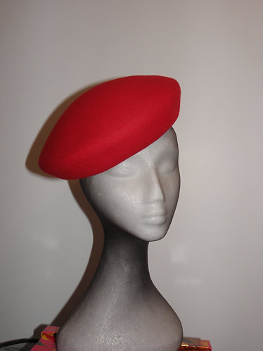 Machine Blocked 100% Wool Felt Hat Shape 6 Red