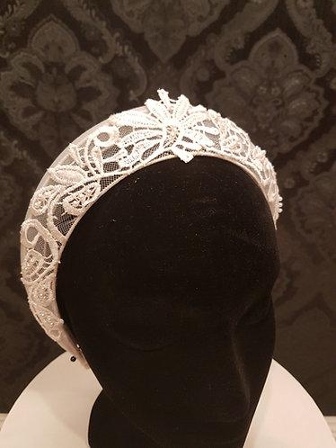 crinolin and guipure lace beaded diadem crown bridal de lew