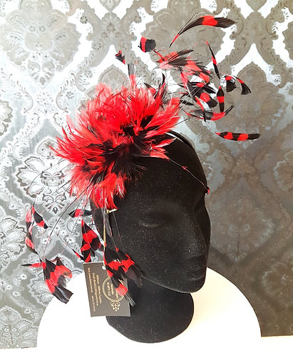 black and red stencilled feather fascinator de lew