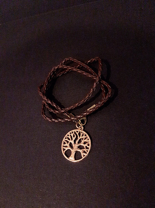 Boho Chic Plaited Leather Tree of Life Wrap Bracelet