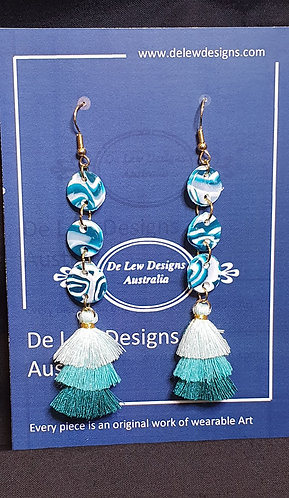 Handmade polymer clay earrings - Turquoise marble dangle with tassel
