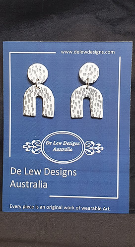 Handmade polymer clay earrings - White with metallic silver dash