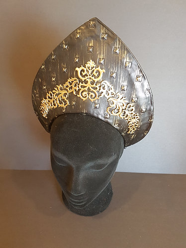 embossed black and gold faux leather diadem de lew