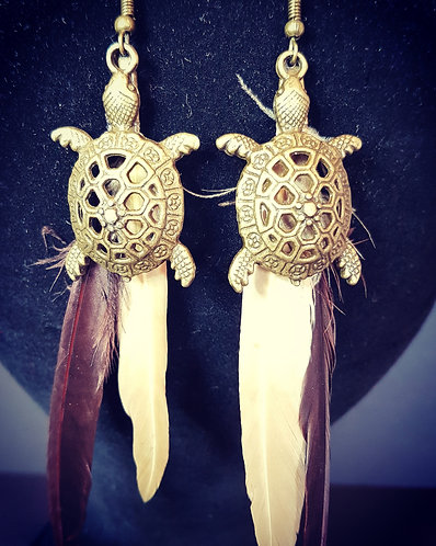 turtle and feather earrings Boho accessories australia millinery spring racing carnival