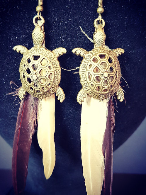 turtle and feather earrings
