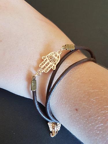 Namaste wrap bracelet Hamsa Elephants leather cord accessories