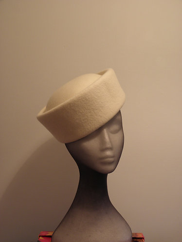 Machine Blocked 100% Wool Felt Hat Shape 4 Ivory