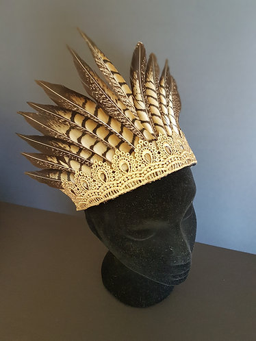 phesant feather and gold lace crown millinery spring racing carnival