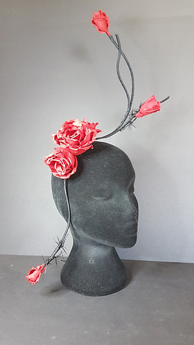 red 100% silk rose fascinator spring racing carnival millinery australia