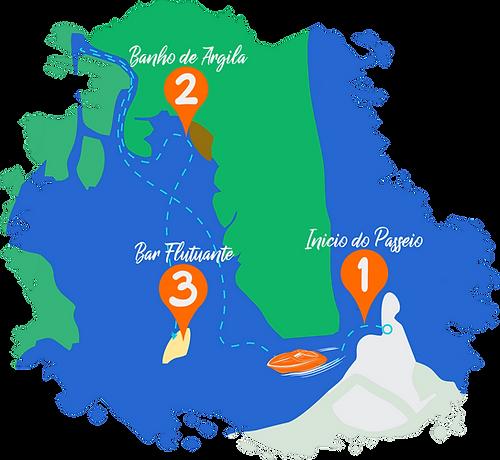 Mapa passeio de lancha em Tibau do Sul, Passeios em Pipa