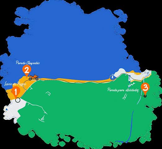 Mapa rota passeio de quadriciclo em Pipa, Passeios em Pipa