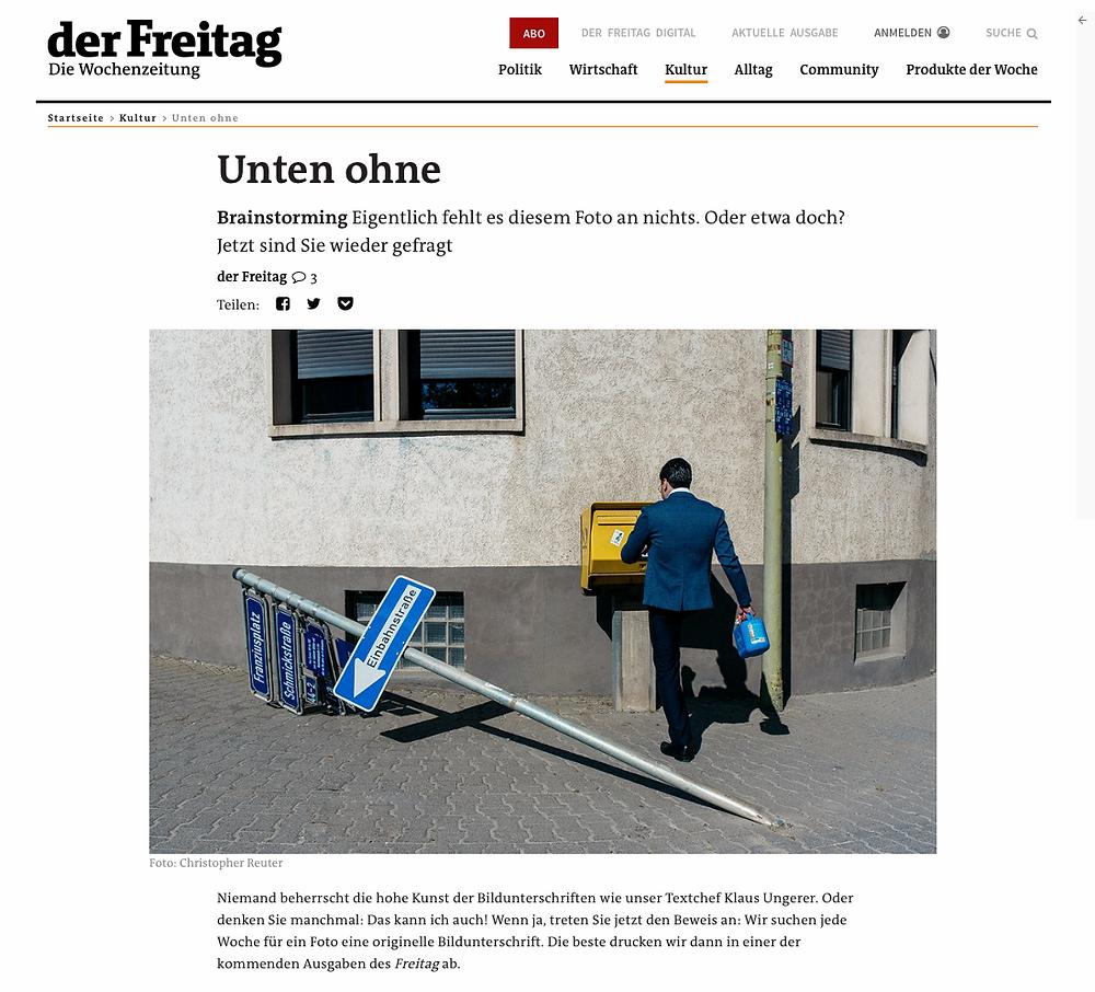 Der Freitag- Wochenzeitung - Artikel - Streetfotografie _ Streetphotography Cologne - Christopher Reuter - Fotograf Köln - Mann mit einem Bein - Briefkasten - Frankfurt Streetfotografie