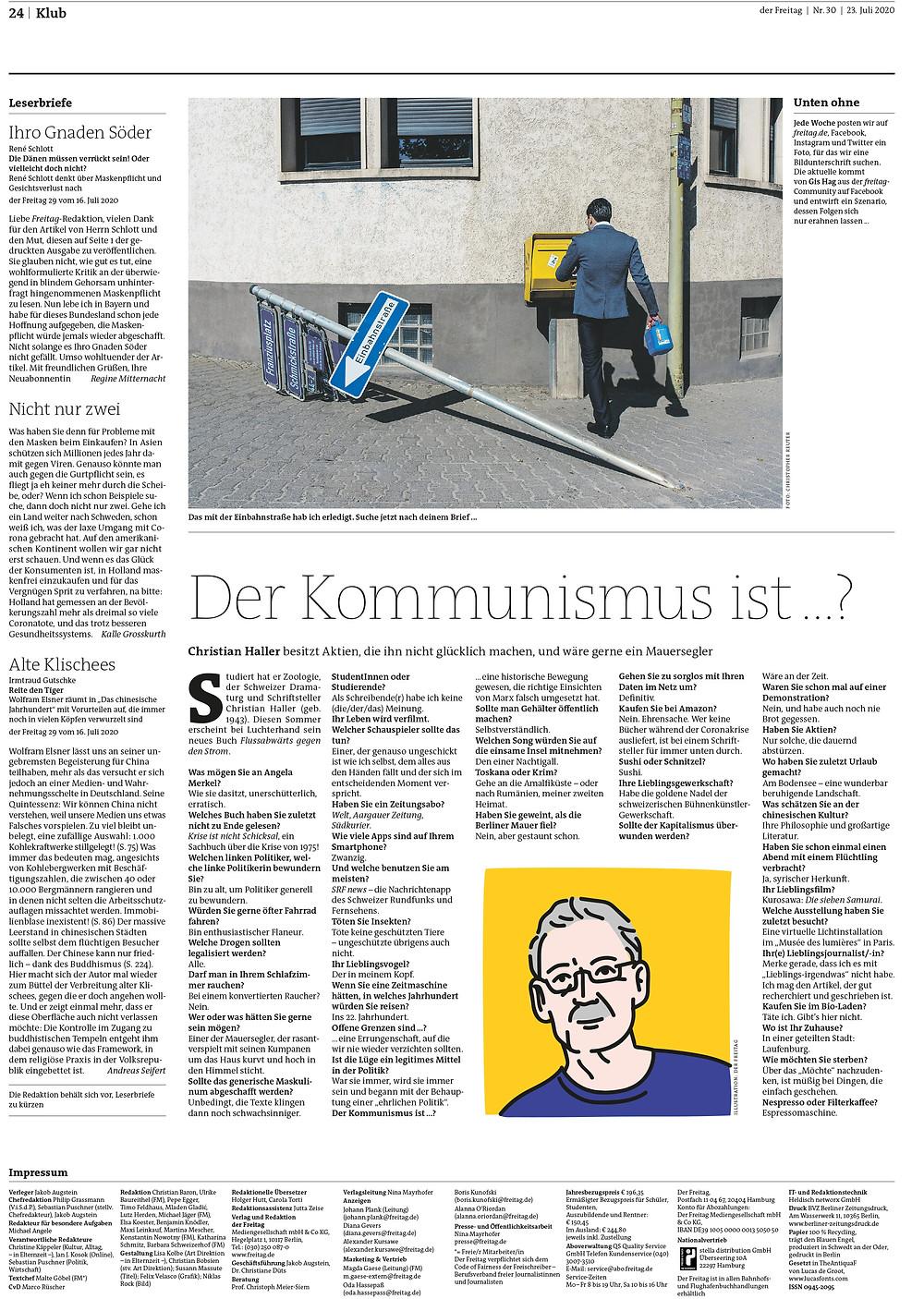 der Freitag Magazin. Kultur - Streetfotografie Deutschland - Streetphotography - Christopher Reuter - Mann ohne Bein - Juxtaposition -Candid Streetphotography