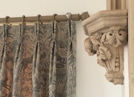Pinch pleat interlined curtains made by Hillview Soft Furnishings at Elmslie House Malvern