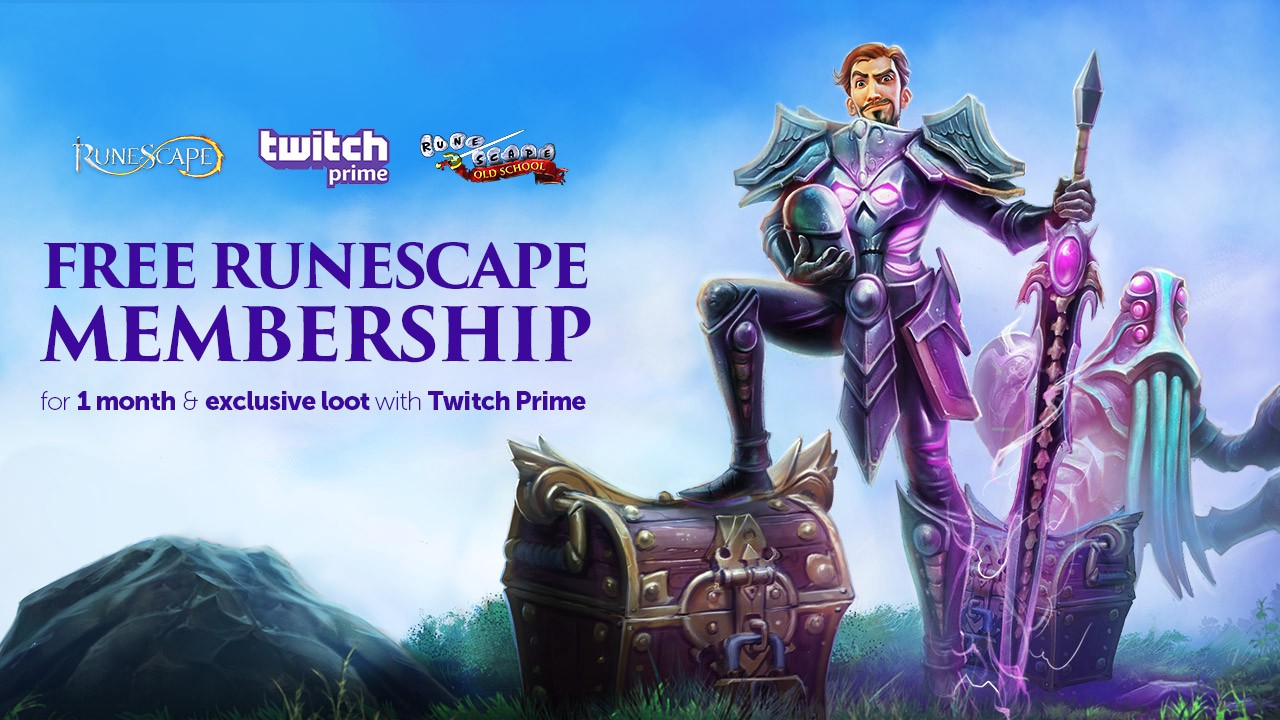 New Twitch Prime Loot: RuneScape Free Membership and Loot Pack