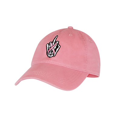 Pink Baseball Hat With Finger and Ribbon