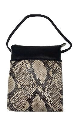 Mini Leather Snake Crossbody Bag Black