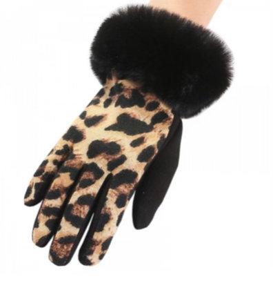 Leopard Print Faux Fur Trim Gloves