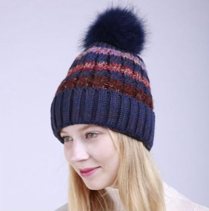 Multi Color Stripes Cable Knitted Beanie w/ Faux Fur Pom Navy