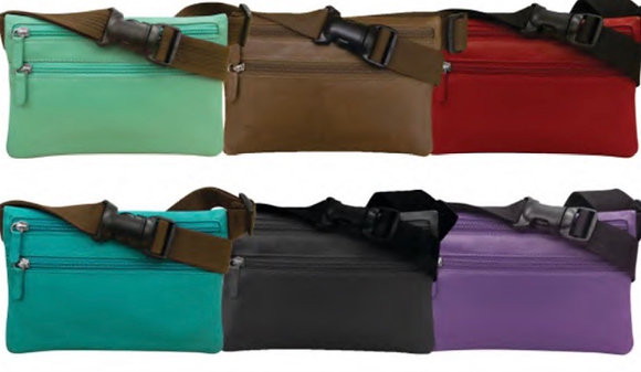 Leather Belt Bag Slim Double Zipper