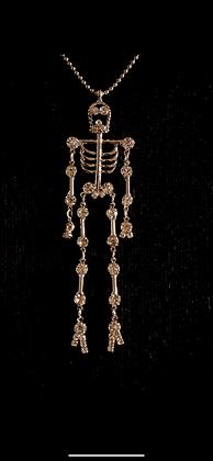 Dangling Rhinestone Skeleton Necklace