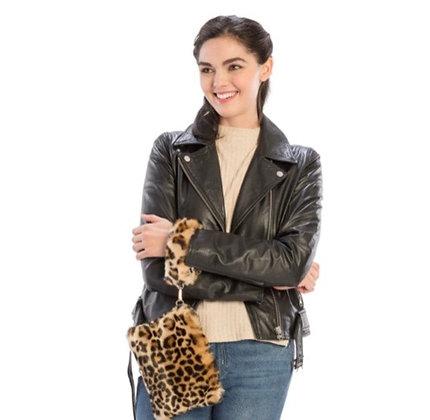 Leopard Faux Fur Wristlet with zipper