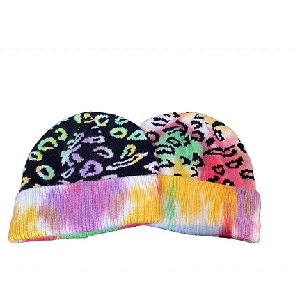 Multi Color Leopard Pattern Knitted Beanie