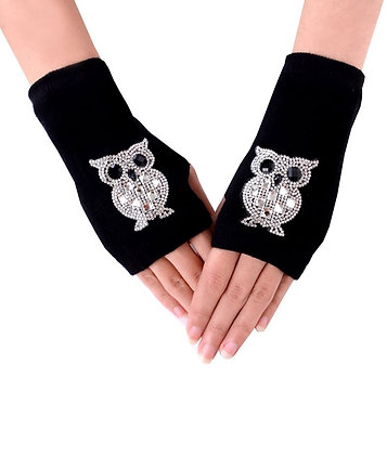 Rhinestone Owl Winter Arm Warmer-Short