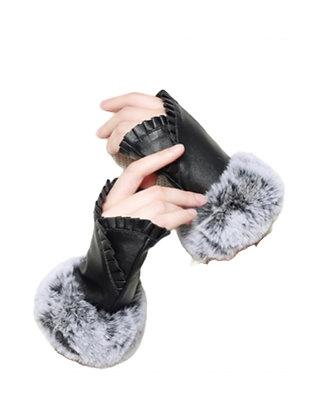 Ruffle Accent Fingerless Gloves