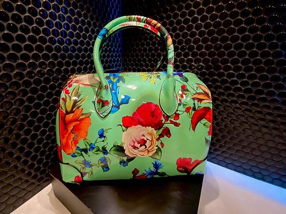 Floral Satchel Bag with Wallet and Shoulder Strap