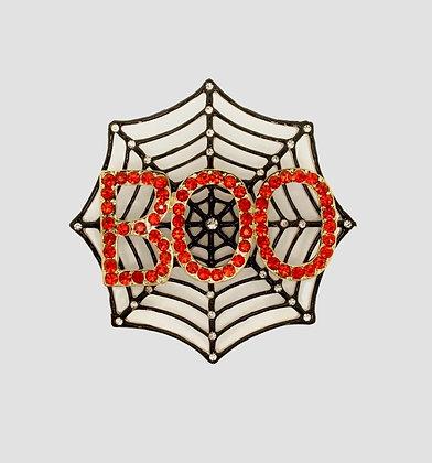 Rhinestone and Crystal Boo Spiderweb Brooch